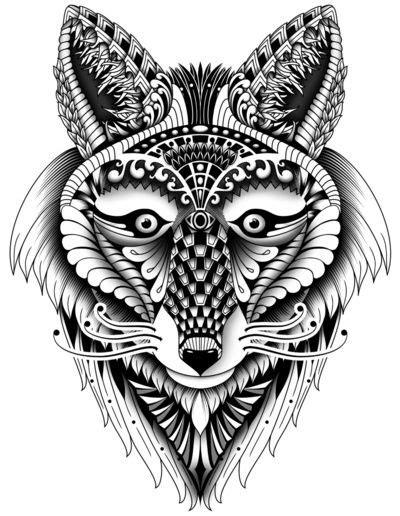 Zentangle inspired Foxy Wolf - by Zandiepants | Animal Spirits | Adult coloring pages, Zentangle
