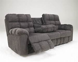 Acieona slate rec sofa w drop down table 5830089 for Sectional sofa with drop down table