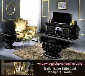 Italienische Möbel Esszimmer : luxus m bel esszimmer wohnzimmer rossella schwarz gold ~ Lateststills.com Haus und Dekorationen