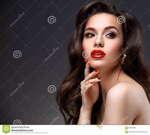 Beauty Model Woman With Long Brown Wavy Hair Stock Photo ...
