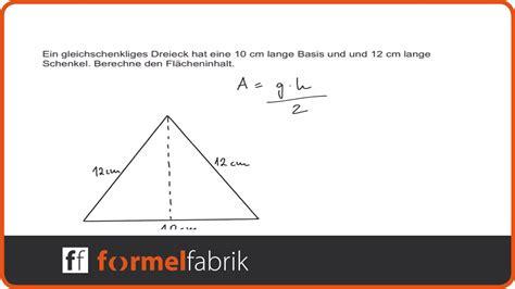 pythagoras flaecheninhalt von gleichschenkligem dreieck