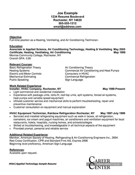 hvac installer job description for resume hvac installer resume sample resumes design