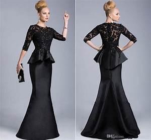 robe de soiree 2015 black evening gowns half long sleeves With robe de soirée 2015