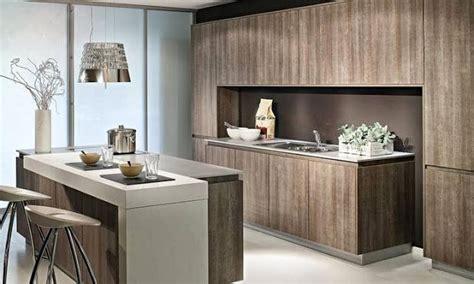 ilot de cuisine avec coin repas cuisine moderne en bois déco cuisine sans poignées avec