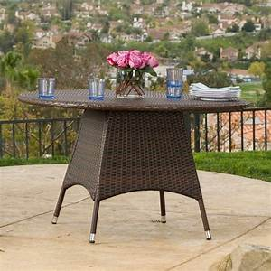 Outdoor, Brown, Wicker, Round, Dining, Table