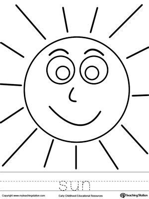 sun coloring page  word tracing sun coloring pages