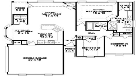 5 Bedroom Single Story House Plans Two Bedroom, One Story
