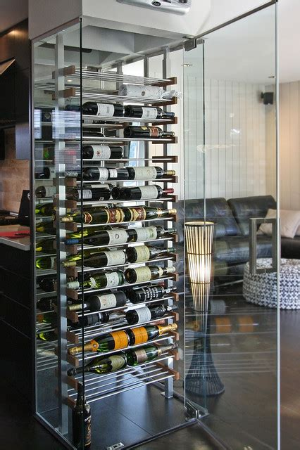 kitchen glass cube modern wine cellar miami