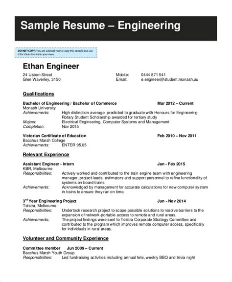 Engineering Student Resume by 9 Student Resume Templates Pdf Doc Free Premium