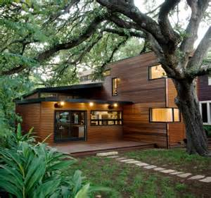 green homes designs architecture green architecture house design which the wall made from wood near big tree