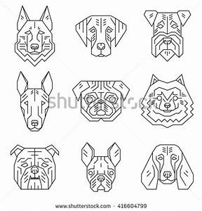 Collection Dogs Heads Simple Geometric Stylevector Stock ...