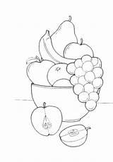 Coloring Pages Drawing Basket Fruit Fruits Vegetables Vegetable Colouring sketch template
