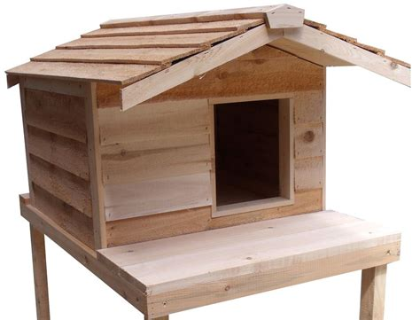 Large Insulated Cedar Outdoor Cat House With Platform Ebay