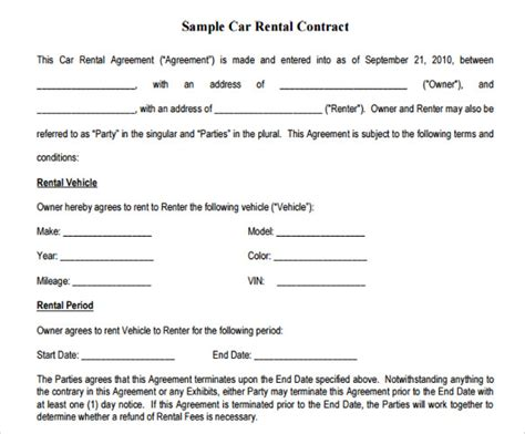 sample car lease agreement templates  ms word