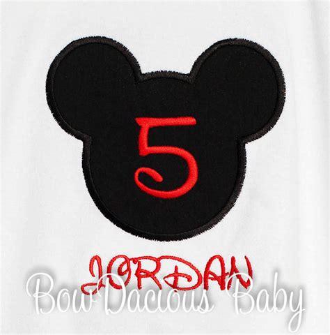 birthday mickey head boy shirt disney font applique personalized