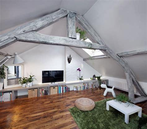 attic living parisian attic apartment blends rustic with contemporary freshome com