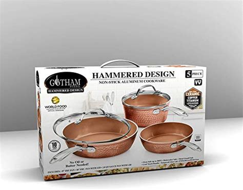 gotham steel premium hammered cookware  piece ceramic cookware pots  pan set  triple