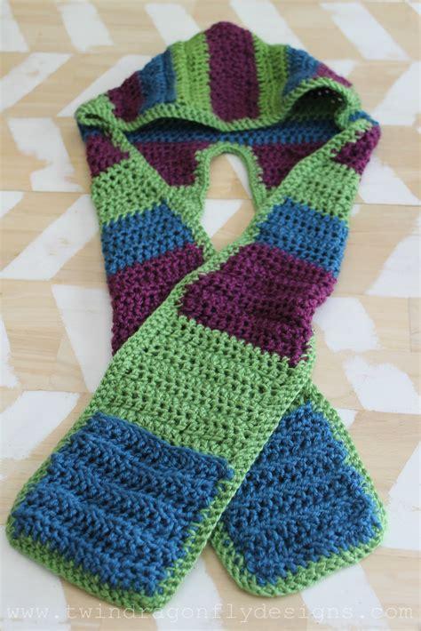 crochet hooded scarf pattern dragonfly designs