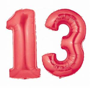Red Number 13 Balloons | Large Red Number 13 Balloons will ...