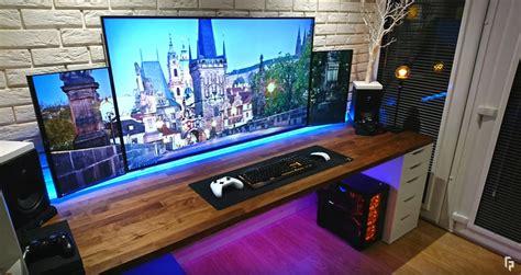 gaming setup setups computer pc gamer room game ultimate techtm desktop desk table wooden simple