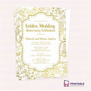 free pdf template golden wedding anniversary invitation With wedding invitation online pdf