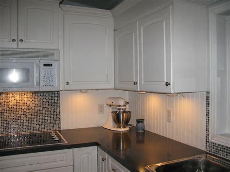 White Beadboard And Tile Backsplash  For The Home