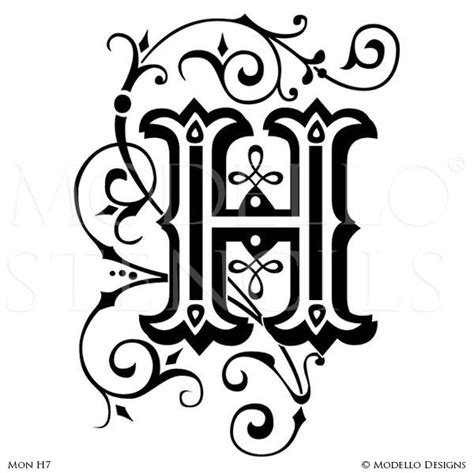 monogram wall art custom lettering stencils  modello designs modello designs