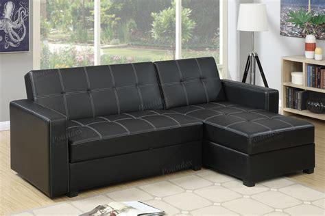 poundex amala  black leather sectional sofa bed