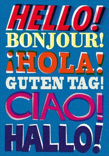 Hello! Bonjour! Hola! Postcard Funny £0.70 by Dean Morris ...