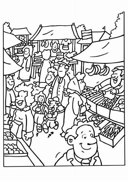 Kleurplaat Marktkramer Grote Afbeelding
