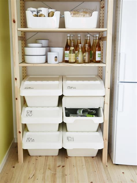 ikea labeled stackable recycling bins pantry shelf