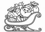 Sleigh Santa Coloring Pages Christmas Claus Cute Printable Clipart Cliparts Drawing Presents Cartoon Para Horse Getcolorings Coming Town Papa Noel sketch template