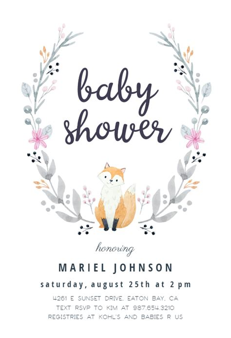 soft fox baby shower invitation template