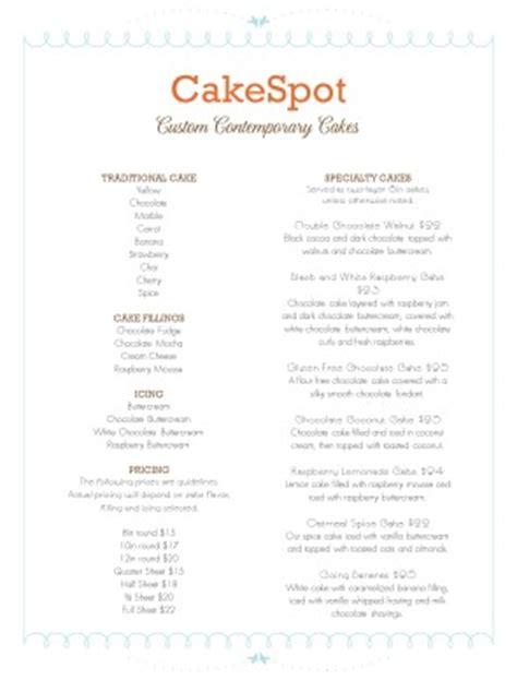 cakes menu bakery menu