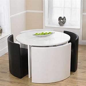 Charisma rund hochglanz schwarz stowaway esstisch mit 4 for Runder tisch mit 4 stühlen