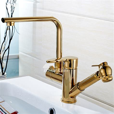 gold kitchen faucet single hole polished brass pull