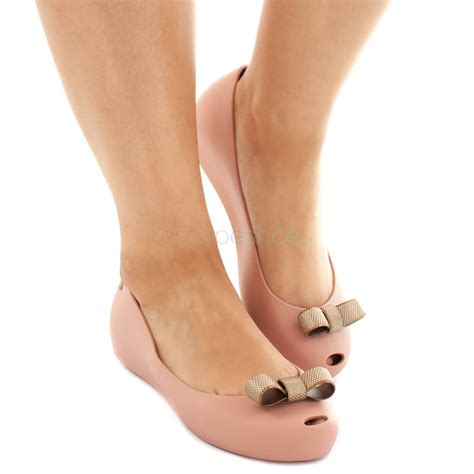 flat shoes melissa ultragirl bow chrome nude