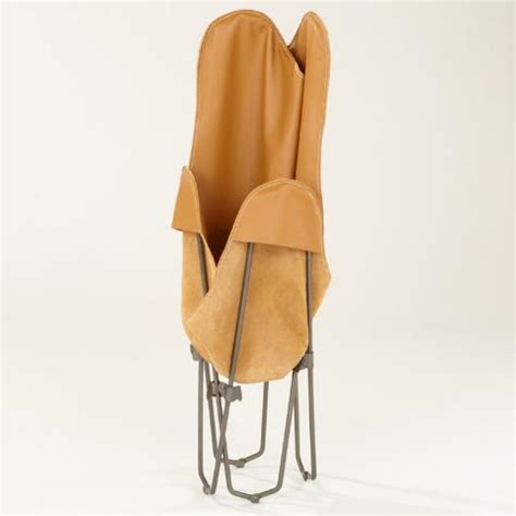 camel leather butterfly chair world market