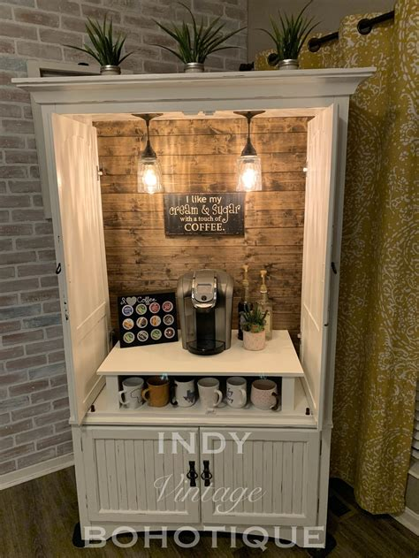 To register for a workshop, choose a design (or send us a custom idea) and purchase it here. SOLD! Custom armoire coffee bar, coffee station, beverage station, rustic coffee cabinet, wine ...