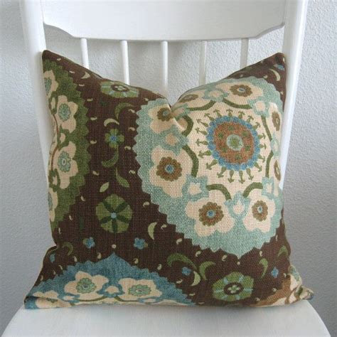 Blue Brown Throw Pillows by Decorative Pillow Cover 20x20 Brown Blue Green