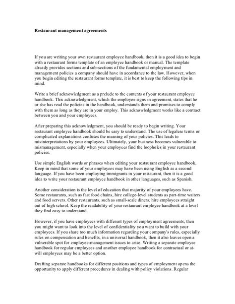 restaurant management agreements
