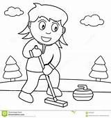Curling Coloring Playing Ragazza Gioca Coloritura Arricciatura Parco Nel Che Krullen Speel Meisje Kleuren sketch template