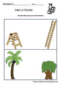 taller  shorter worksheetssize comparison worksheets