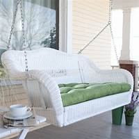 wicker porch swings Coral Coast Casco Bay Resin Wicker Porch Swing with Optional Cushion