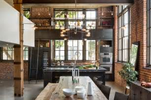 bronze pull kitchen faucet clocktower loft industrial dining room san francisco