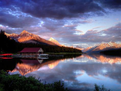 mountain house lake sunset dark clouds wallpaperscom