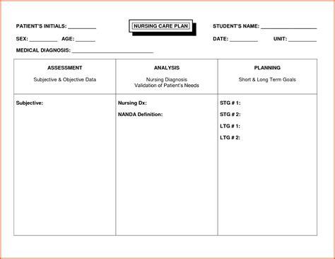 Nursing Care Plan Format Template by Nursing Care Plan Template Resume Name