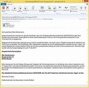 Gmx Rechnung Nicht Bezahlen : abrechnung 68481952 vom 16 august 2017 von stellvertretender sachbearbeiter giropay24 ag news ~ Themetempest.com Abrechnung
