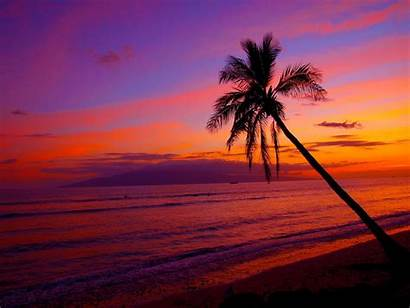 Hawaii Sunset Hawaiian Desktop Wallpapers Beach Na