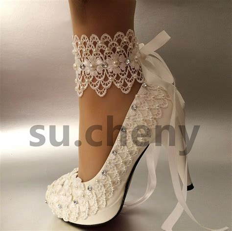 Wedding Shoes by 3 Quot 4 Quot Heel White Ivory Lace Ribbon Ankle Pearls Wedding